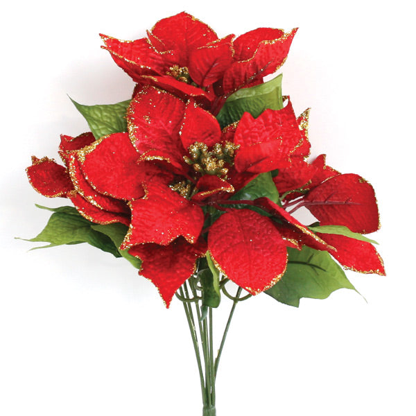 Poinsettia Bush, Large - Red with Gold Trim