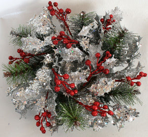 Wreath - Glitter & Sparkle Holly with Pine Needles & Berries - Silver - MEGA SPECIAL