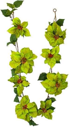 Garlands - Poinsettia Flowers - Green 6ft - Box Lot Deal Special (4)