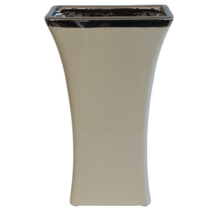 Vase - Rectangular Cream 30cm - Importer's Clearance
