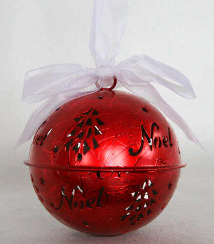 Ball Noel - Red Tin Christmas Decoration