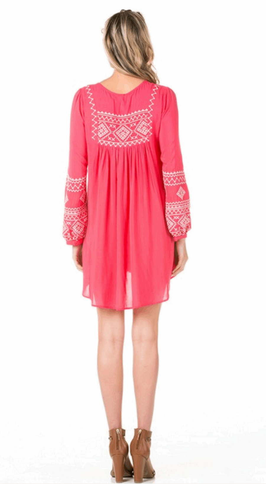 Full Tunic Mini Dress with Bishop Sleeves in Coral from Monoreno | Beauty Cafe - 2
