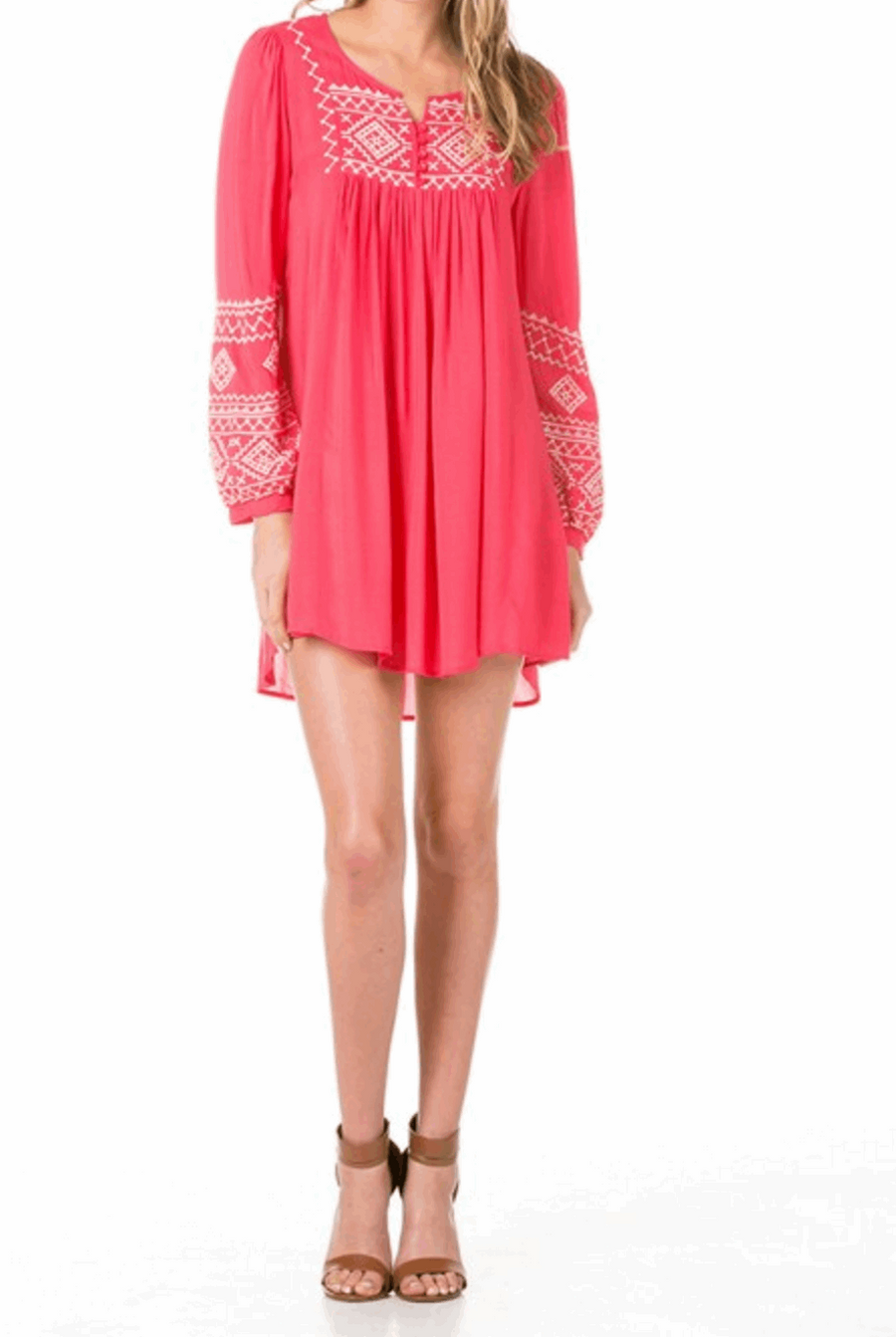 Full Tunic Mini Dress with Bishop Sleeves in Coral from Monoreno | Beauty Cafe - 1
