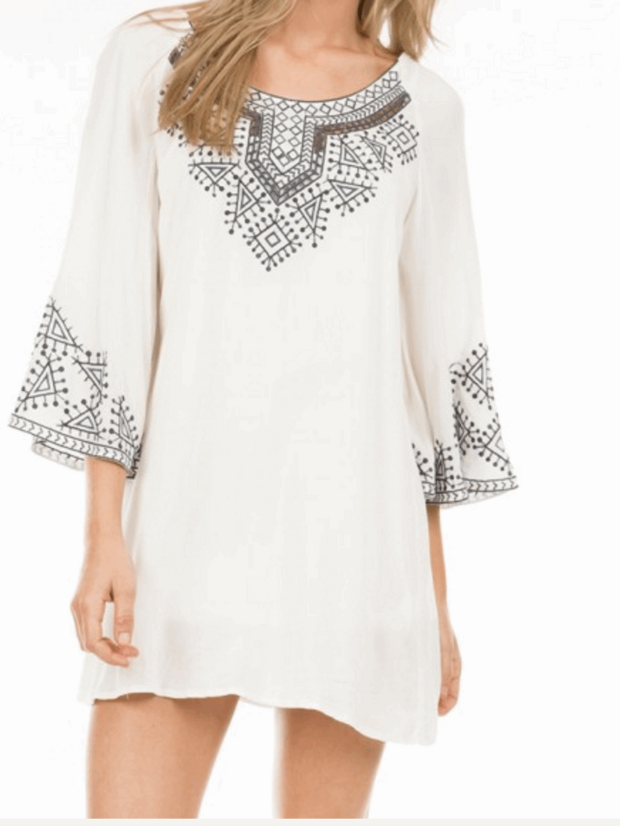 Embroidered Dress with 3/4 Bell Sleeves in Off White from Monoreno | Beauty Cafe - 1