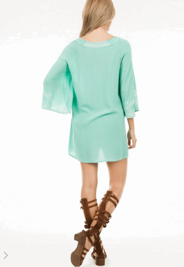 Embroidered Dress with 3/4 Bell Sleeves in Aqua from Monoreno | Beauty Cafe - 2