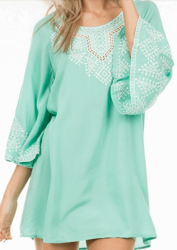 Embroidered Dress with 3/4 Bell Sleeves in Aqua from Monoreno | Beauty Cafe - 1