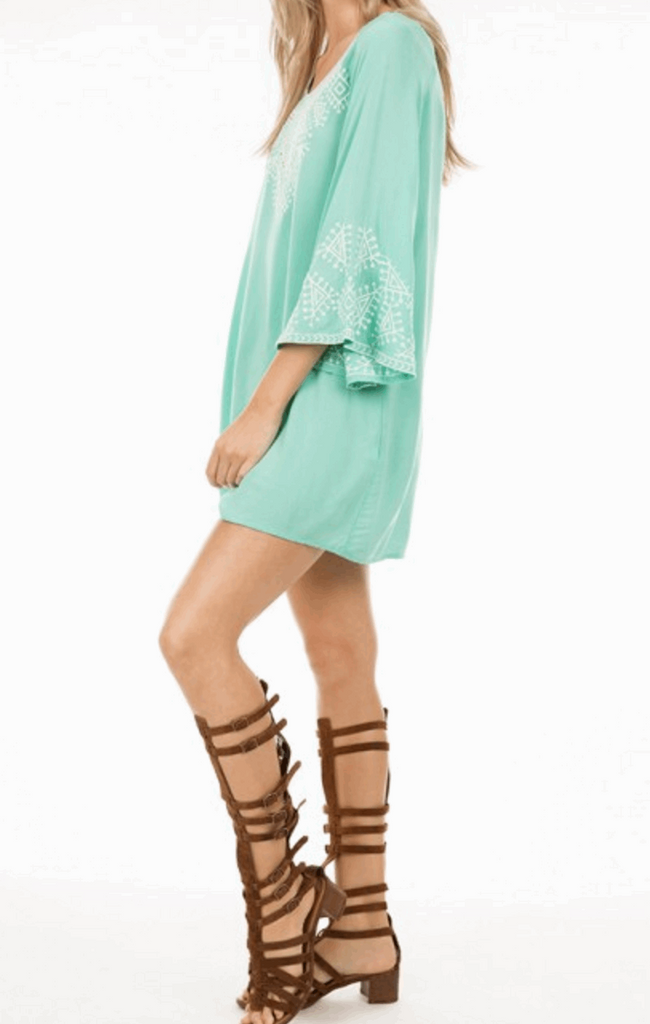 Embroidered Dress with 3/4 Bell Sleeves in Aqua from Monoreno | Beauty Cafe - 4
