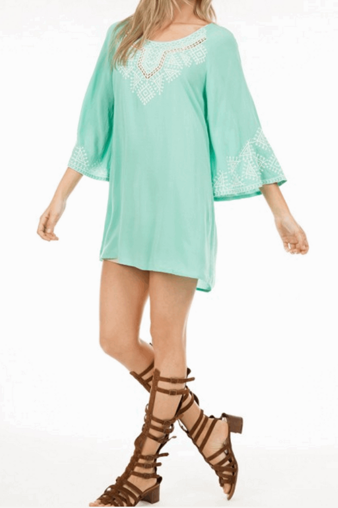 Embroidered Dress with 3/4 Bell Sleeves in Aqua from Monoreno | Beauty Cafe - 3