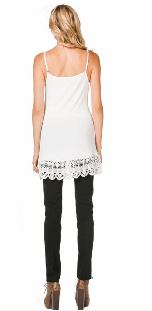 Camisole with Crochet Hemline in OffWhite from Monoreno | Beauty Cafe - 2