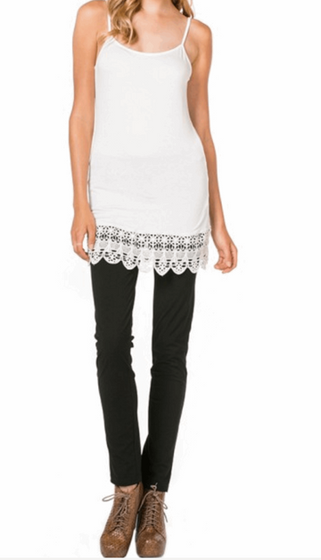 Camisole with Crochet Hemline in OffWhite from Monoreno | Beauty Cafe - 1