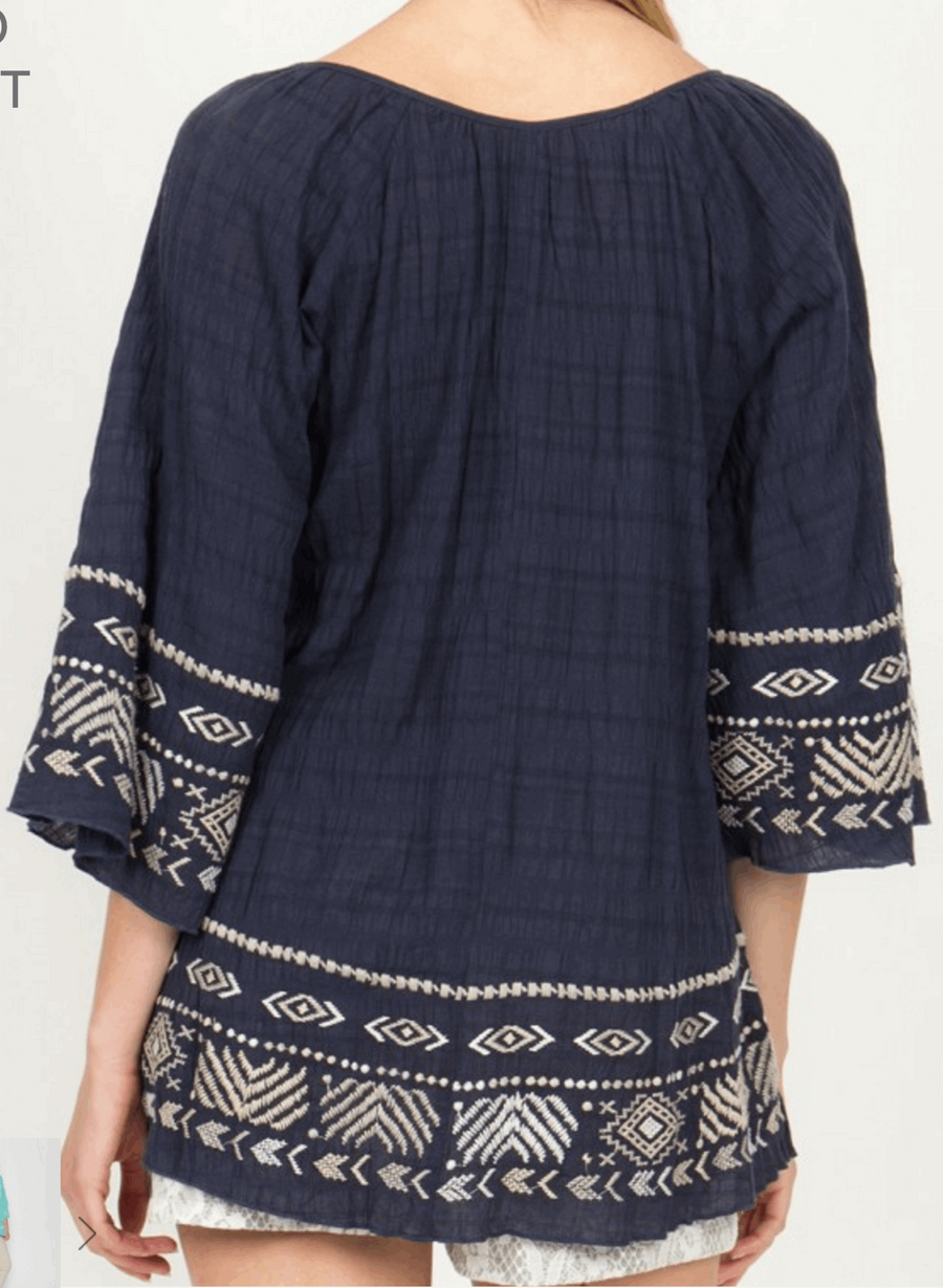 Gauze Raglan Sleeve Embroidered Peasant Top in Navy from Monoreno | Beauty Cafe - 5
