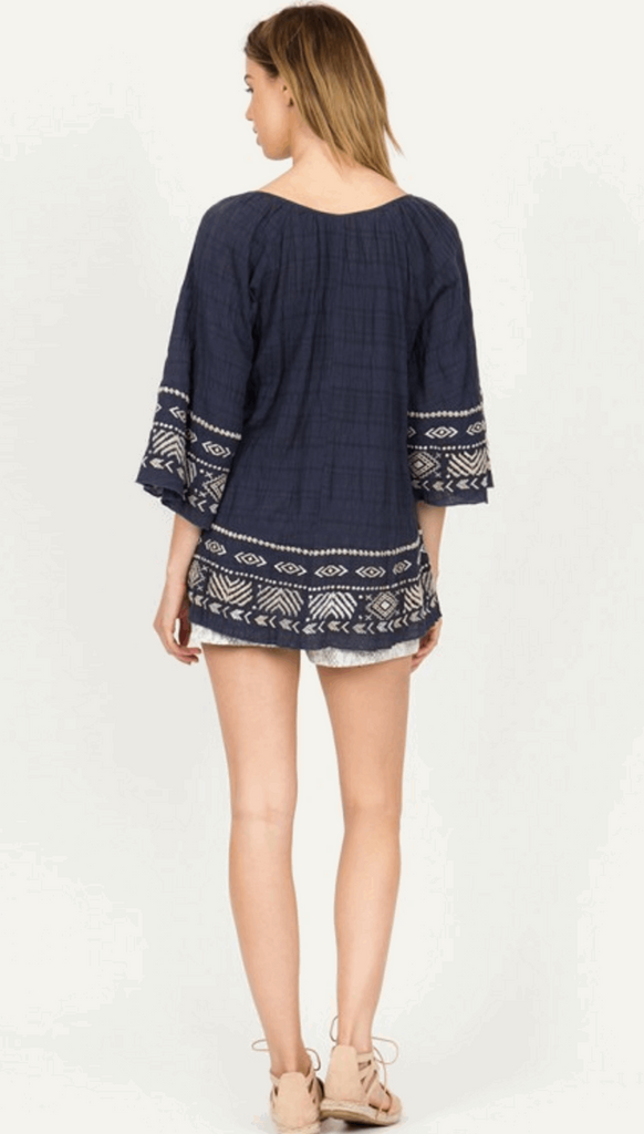 Gauze Raglan Sleeve Embroidered Peasant Top in Navy from Monoreno | Beauty Cafe - 4