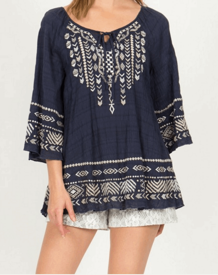 Gauze Raglan Sleeve Embroidered Peasant Top in Navy from Monoreno | Beauty Cafe - 1