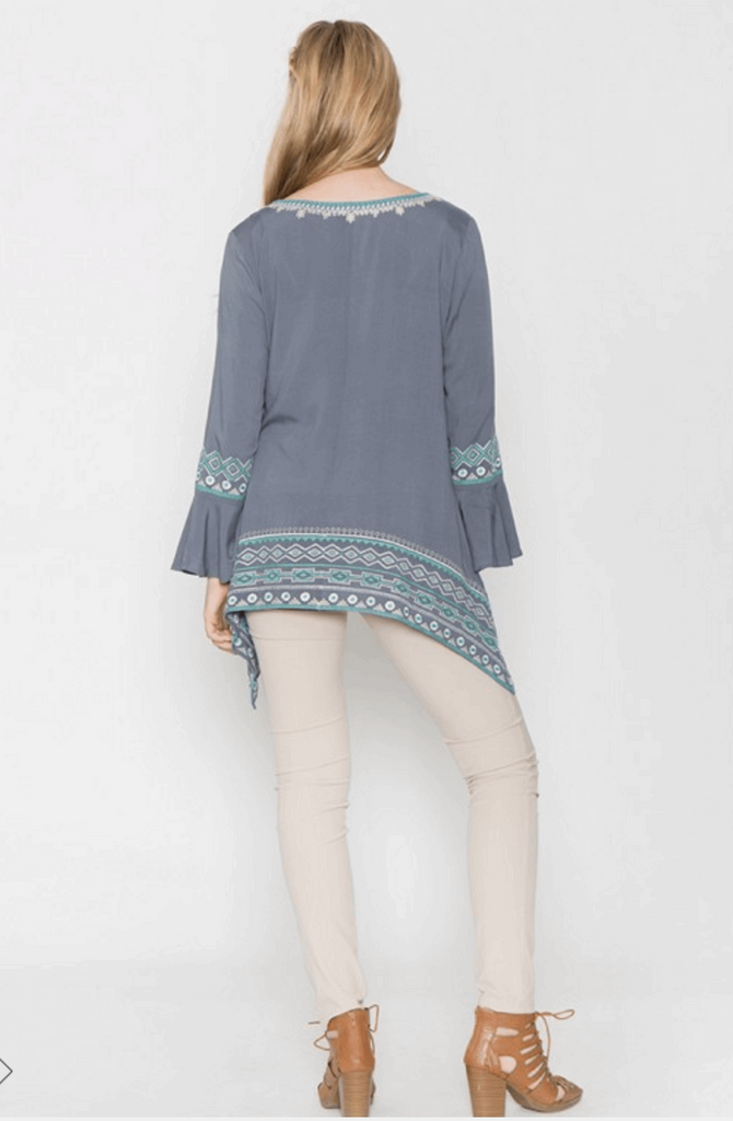 Sharkbite Embroidered Peasant Tunic in Grey/Teal Blue from Monoreno | Beauty Cafe - 5