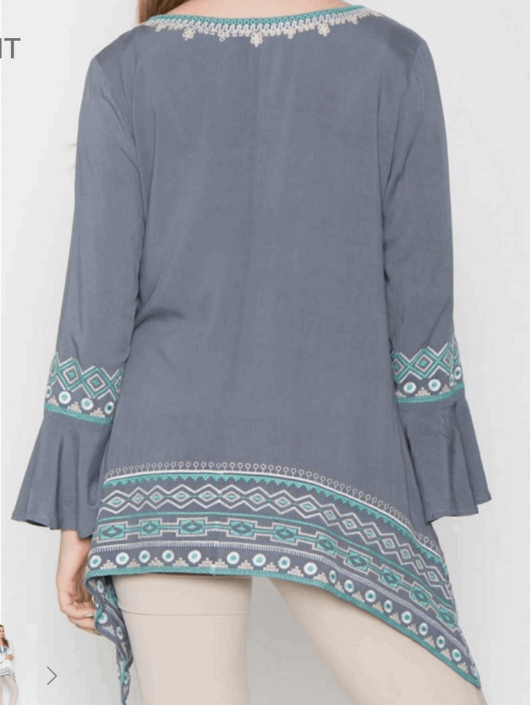 Sharkbite Embroidered Peasant Tunic in Grey/Teal Blue from Monoreno | Beauty Cafe - 6