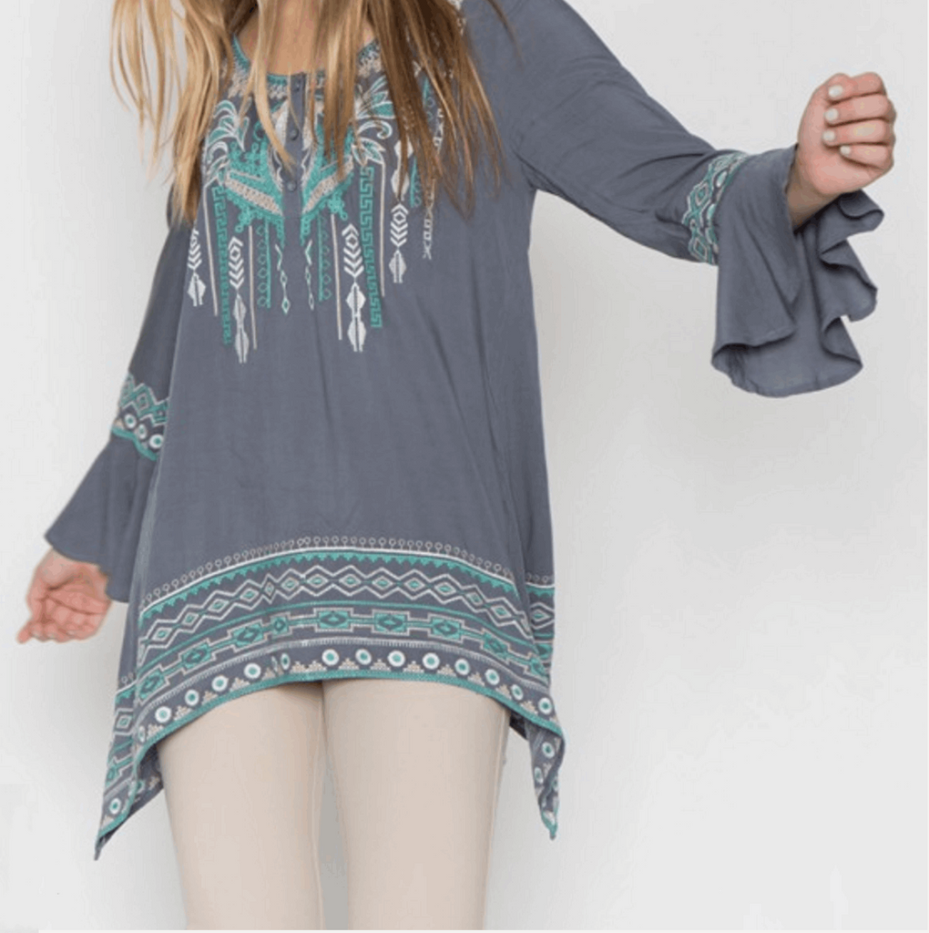 Sharkbite Embroidered Peasant Tunic in Grey/Teal Blue from Monoreno | Beauty Cafe - 2