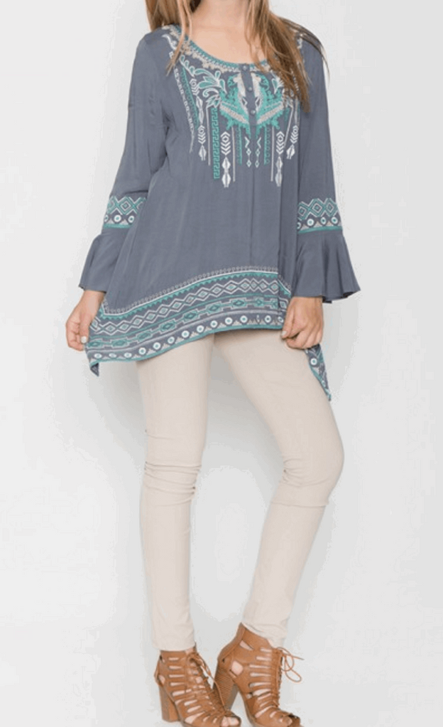 Sharkbite Embroidered Peasant Tunic in Grey/Teal Blue from Monoreno | Beauty Cafe - 3