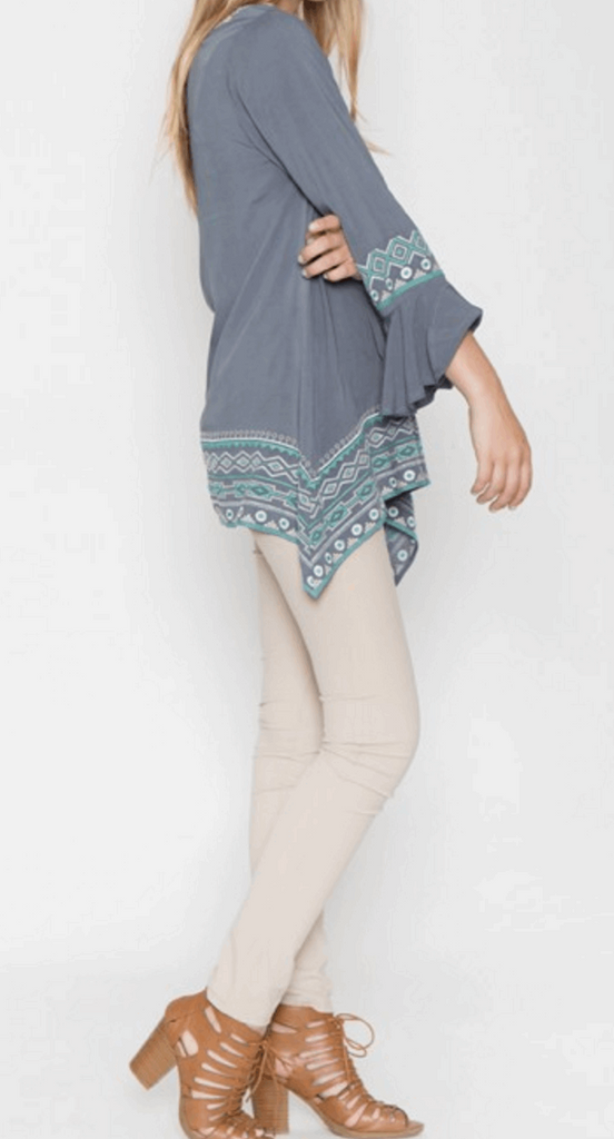 Sharkbite Embroidered Peasant Tunic in Grey/Teal Blue from Monoreno | Beauty Cafe - 4