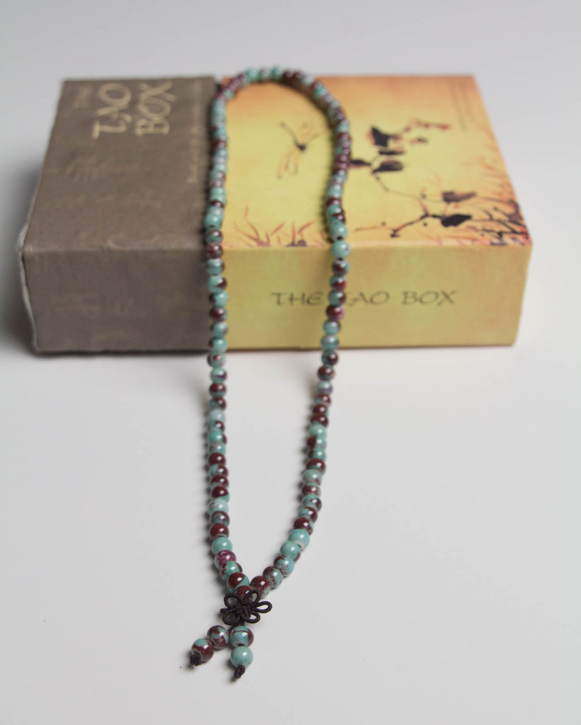 "Multicolored Vintage Enamel Beads Mala Necklace 23"" from Beauty Cafe 
