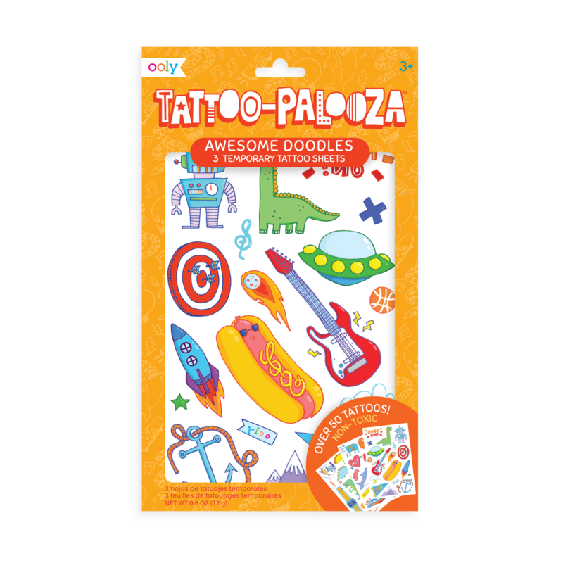 Tattoo-Palooza Temporary Tattoos - Awesome Doodles - 3 Sheets