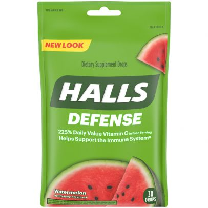 Halls Defense Dietary Supplement Drops, Watermelon - 30 ct