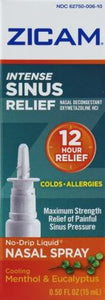 Zicam Sinus Relief Intense No-Drip Liquid Nasal Spray, Cooling Menthol & Eucalyptus - 0.5 fl oz