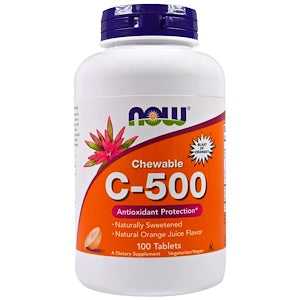 Now Foods, Chewable C-500, Orange Juice Flavor, 100 Tablets