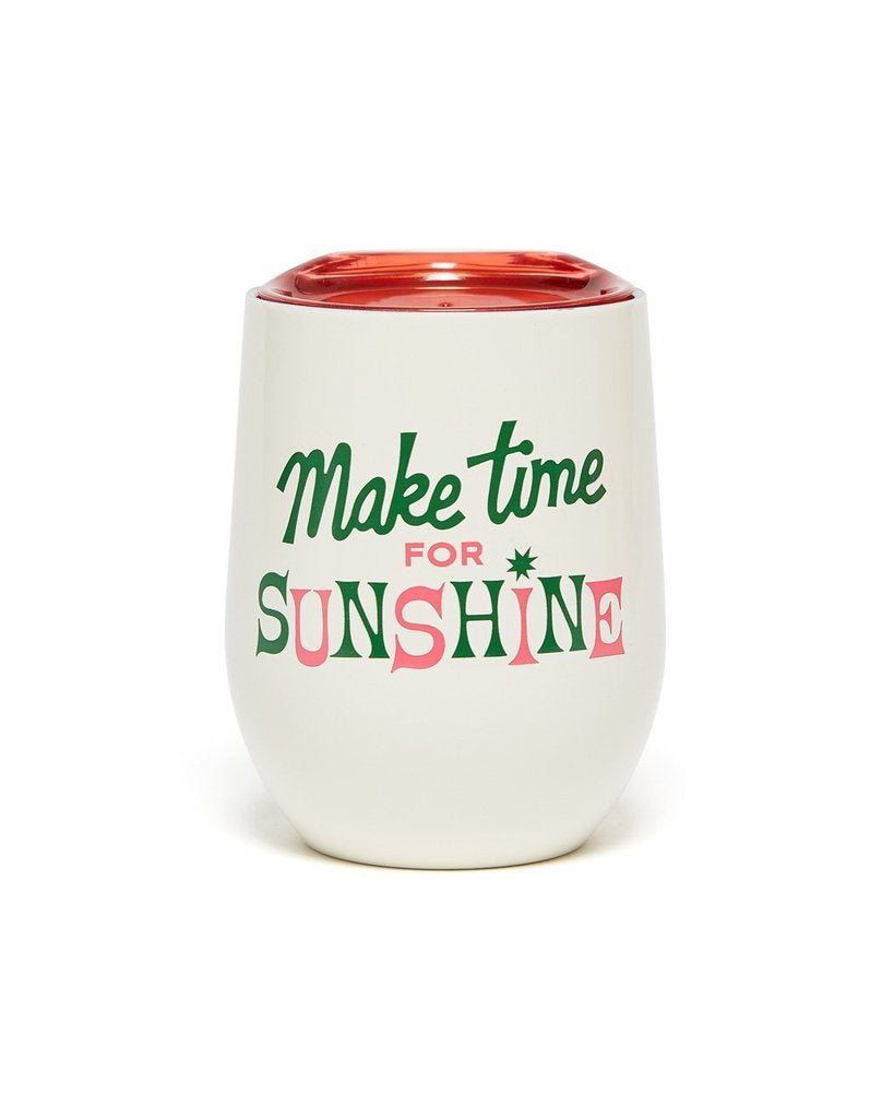 STAINLESS STEEL CUP WITH LID - MAKE TIME FOR SUNSHINE