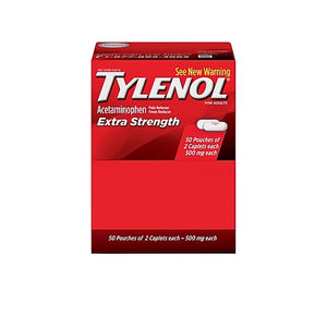 Extra Strength Tylenol 500mg Acetaminophen Pain Reliever Caplet, 2/Pouch, 50 Pouches/Box