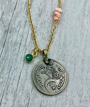 Load image into Gallery viewer, Moon and Star Coin with Emerald Quartz and Stacked Pink Coral Necklace