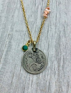 Moon and Star Coin with Emerald Quartz and Stacked Pink Coral Necklace