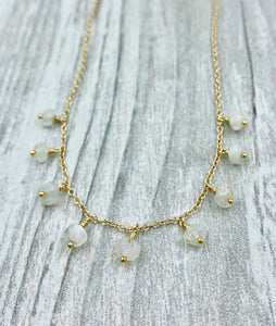 Moonstone, Moonstone beads, Roman inspired necklace, Classic style, delicate gold necklace