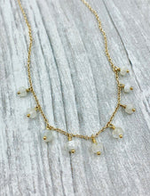 Load image into Gallery viewer, Moonstone, Moonstone beads, Roman inspired necklace, Classic style, delicate gold necklace