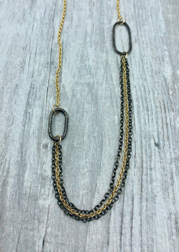 Statement necklace, mixed metals, gold and silver necklace, handmade links, paperclip necklace, layered, gold, silver