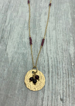 Load image into Gallery viewer, Hammered Gold Disc with Garnet Cluster Necklace