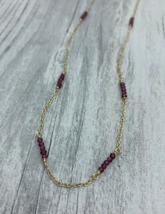 Garnet Beaded Chain Necklace