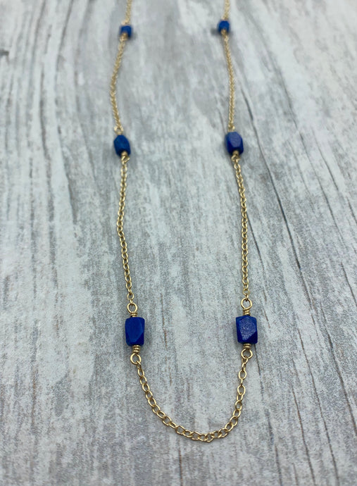 Lapis Beaded Chain Necklace