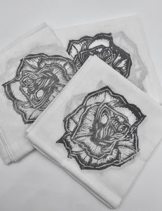 Rose Block Print Bandana in Grey