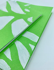 Small Handmade Blank Book in Green and White Set of 2