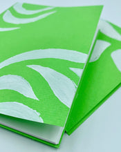 Load image into Gallery viewer, Small Handmade Blank Book in Green and White Set of 2