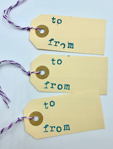 To and From Manilla Gift Tags Set of 10