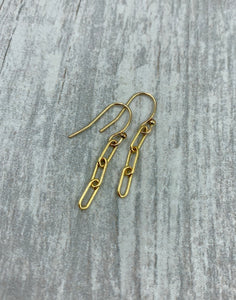 Three Links Gold Paperclip Earrings