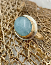 Load image into Gallery viewer, Aquamarine Bezel Set with Gold and Silver Ring