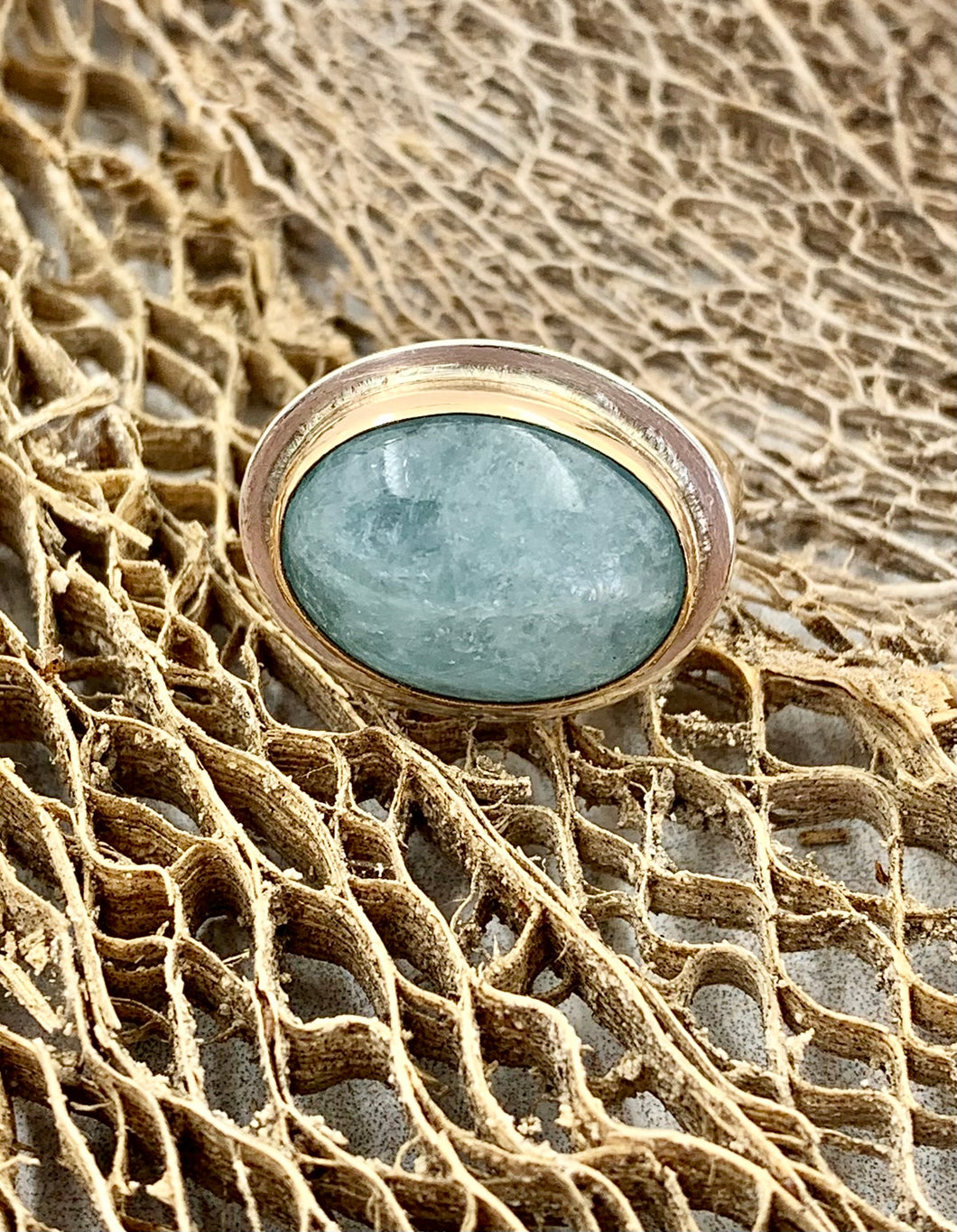 Aquamarine Bezel Set with Gold and Silver Ring