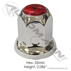562.A4033R Steel Lug Nut Cover w/Red Reflector, 33mm Push-On w/Flange