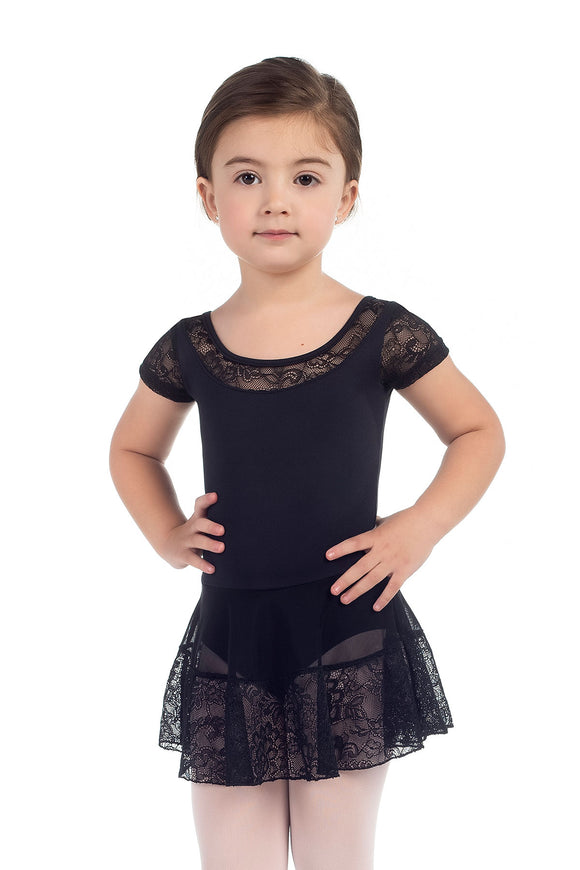 Só Dança Child Lace Capsleeve Leotard with Attached Skirt