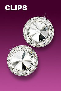 Rhinestone Earrings 17mm Clip