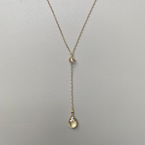 Citrine Y-Shaped Drop Necklace