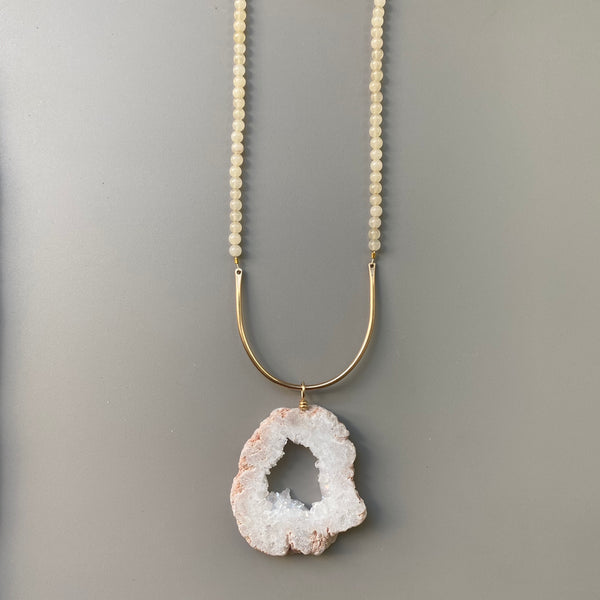 Geode + Pink Chalcedony Arc Necklace | 14k Gold Filled