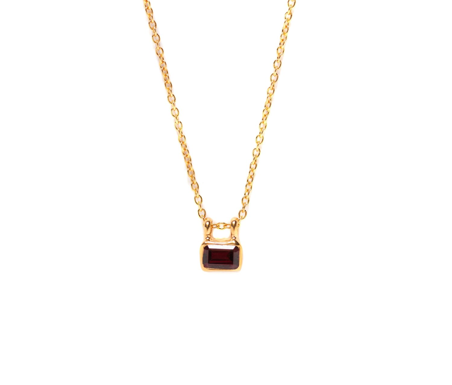 Garnet Mini Signet Necklace